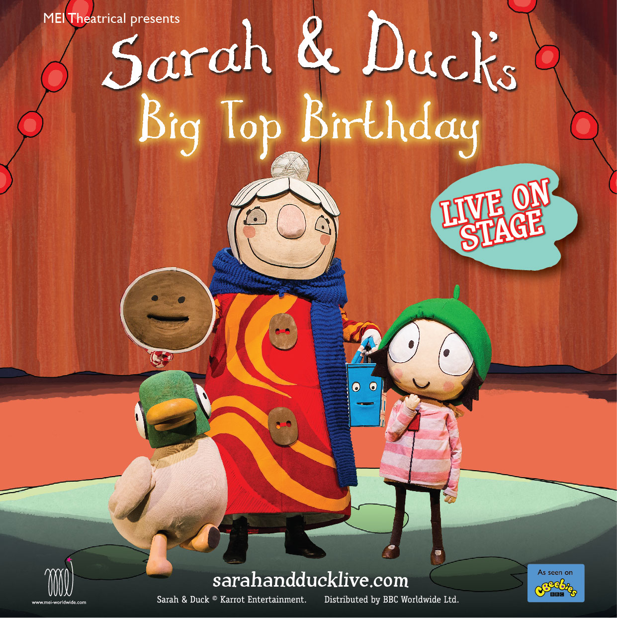Celebrations galore as CBeebies favourites Sarah and Duck bring their Big Top Birthday to Milford Haven this Easter