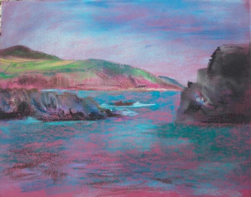 Aberiiddi – Blue lagoon – Chalk pastel on pink paper